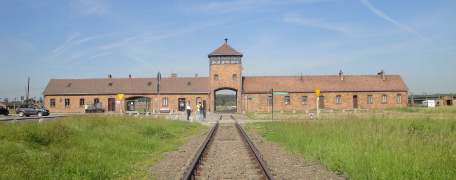 The front view of Auschwitz-Birkenau that the trains traveled through to deliver their people - Auschwitz, Poland